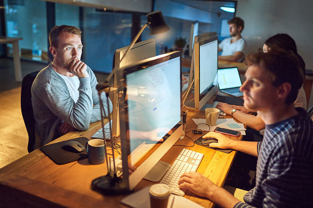Development team creating a software application.