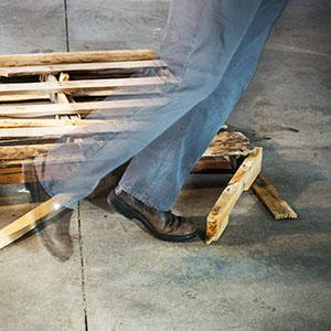 Tripping hazard in a warehouse